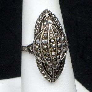 Sterling Silver Marcasite Ring West Germany